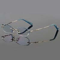 Phantom trimming titanium eyewear female models diamond crystal trimming silver rimless glasses finished prescription glasses