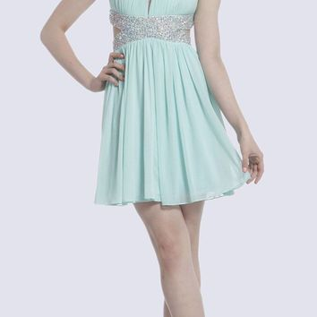 Beaded High Neck Cocktail Dress Mint Side Cut Outs Chiffon