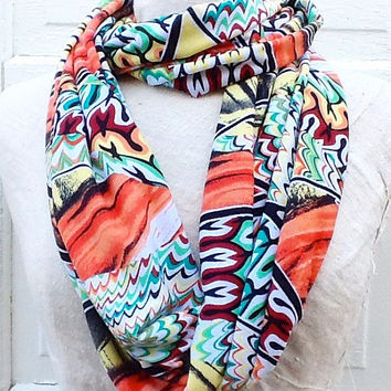 Orange Print Infinity Scarf, Fashion Loop Scarf, Summer Accessories, Aqua