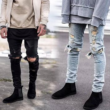 2017 Fashion Men Denim Pants Jeans Ripped Holes Skinny Elastic Slim Fit Cool Punk Long Trousers JL
