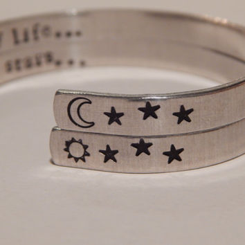 Moon of My Life/My Sun And Stars Game of Thrones Inspired Set of Two Bracelets - Hand Stamped Aluminum