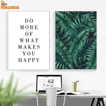 Green Leaves Inspirational Quotes Wall Art Canvas Painting Nordic Posters And Prints Wall Pictures For Living Room Bedroom Decor