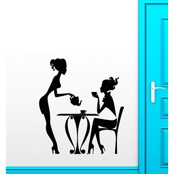 Vinyl Wall Decal Cafe Restaurant Time Coffee Teapot Tea Cup Stickers (2554ig)