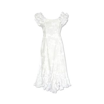 Lanikai White Hawaiian Meaaloha Muumuu Dress with Sleeves