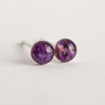 4mm Purple Sugilite Stud Earrings. Sugilite Studs, Sugilite Post Earrings, Lilac Sugilite Earrings. Sugilite Earrings.