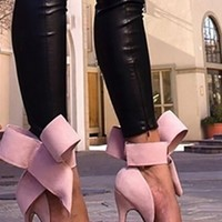Pink Bow Ankle Wrap Stiletto High Heels