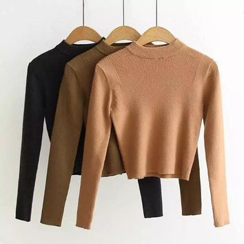 Knitted Ribbed Turtleneck Women's Crop Top Sweater Soft Black Long Sleeve Women Pullovers 2018 Autumn Outwear Cropped Clothes