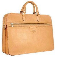 Robe di Firenze Designer Briefcases Women's Sand Double-Gusset Soft Leather Briefcase