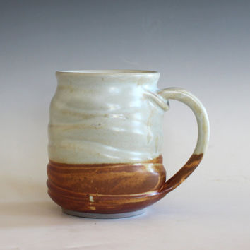 Twisted Mug, 14 oz, unique coffee mug, handmade cup, handthrown mug, stoneware mug, wheel thrown pottery mug, ceramics and pottery