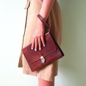 70s Leather Wristlet, Distressed Leather Gucci Purse, Brown Leather Bag, Wristlet Wall