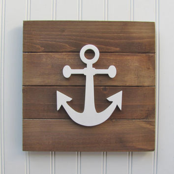 Anchor, Nautical, Rustic, Nursery Wall Decor, Nautical Nursery, Nursery Decor, Nautical Decor, Nautical Wall Art, Boys Room, Pallet Board