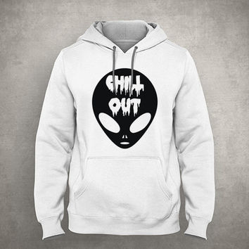 Chill out - Horror alien - Dripping & melting style - Gray/White Unisex Hoodie - HOODIE-027