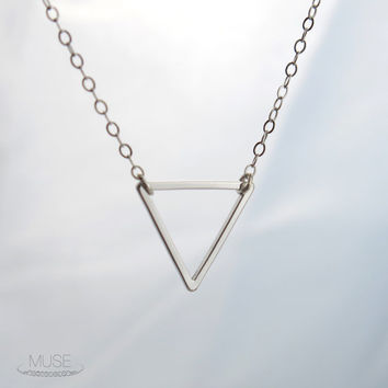 Silver Triangle Necklace - Small Geometric Necklace, Dainty Silver Necklace, Chevron Necklace, Simple Minimal Jewelry, Silver Arrow