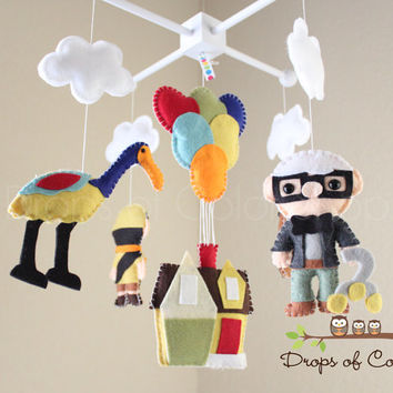 Baby Mobile - Baby Crib Mobile - UP Mobile - Nursery Disney Movie UP Mobile - House Balloons, Carl, Russell, Dog Dug.