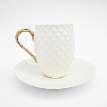 White Pineapple Handmade Ceramic Espresso Cup