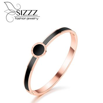 SIZZZ European and American personality round bracelet plated rose gold Bangles For Women/Girl