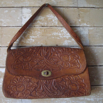 Vintage Hand Tooled leather Shoulder Purse Brown