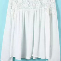 White Long Sleeve Lace Pleated Blouse