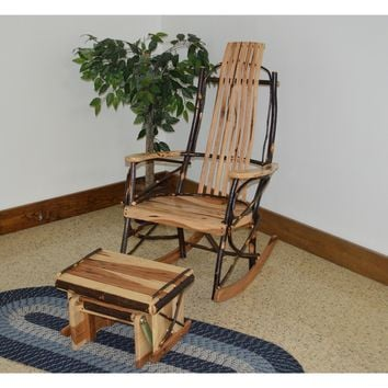 A & L Furniture Co. Amish Bentwood 7-Slat Hickory Rocking Chair With Gliding Ottoman Set  - Ships FREE in 5-7 Business days