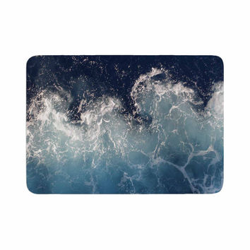 "Suzanne Carter ""Sea Spray"" Navy Ocean Memory Foam Bath Mat"