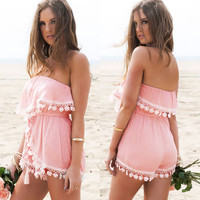 Strapless Chiffon Crossover Pleated Short Sexy Jumpsuit