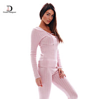 2016 New Fashion Long Sleeve Deep V neck Bodycon Knitted Rompers Women Jumpsuit Two pieces outfits Long Pants Pink Jumpsuits