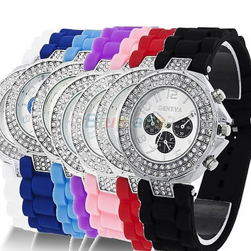 Silicone Crystal Quartz Ladies Women Jelly Wrist Watch Versicolor = 1956962308