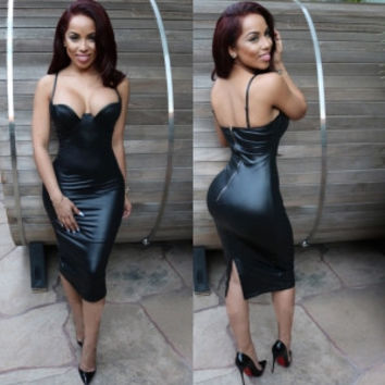 Black Leather Strappy Bandage Midi Dress