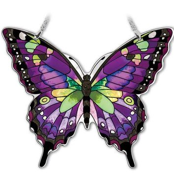 Large Purple Swallowtail Butterfly Suncatcher 7 inch