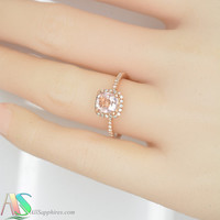 Peach champagne sapphire, 0.9 carat, Rose gold, diamonds halo engagement ring  944Pr