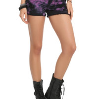 LOVEsick Purple And Black Acid Wash Distressed Cut-Off Shorts