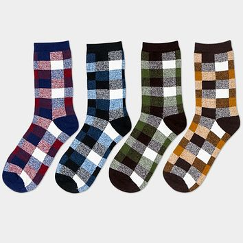 Mens Business Leisure Cotton Socks Colorful Lattice Elastic Socks High Quality Long Tube Plaid Sock