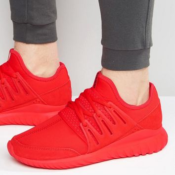 adidas Originals Tubular Radial Sneakers In Red S80116 at asos.com
