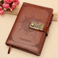 Vintage Brown Rudder Leather Journal Diary Notebook Combination Lock