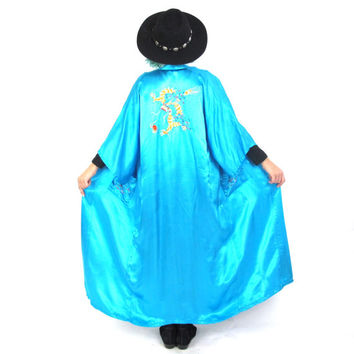 Vintage Blue Silk Kimono Dragon Embroidered Chinese Robe Floor Length Festival Boho Hippie Asian Belted Kimono (L/XL)