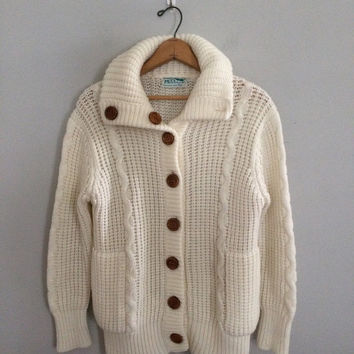 SALE Chunky knit cardigan / the beach comber cardigan / cardigan sweater cozy warm sweater fisherman sweater shawl collar sweater