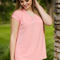 KLR Perfect Piko V-Neck - Peach | Tops | Kiki LaRue Boutique