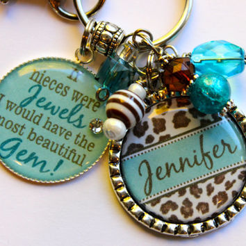 "Personalized Niece keychain gift, ""If Nieces were Jewels, I would have the most beautiful Gem"" Nieces, Aunt Mom sister cousin cheetah print"