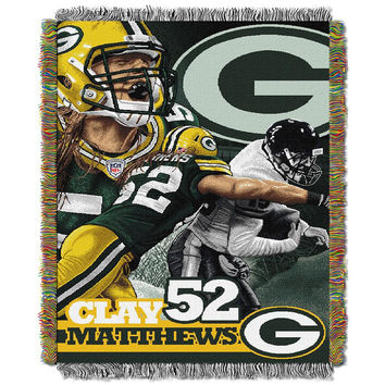 Clay Matthews Green Bay Packers NFL Woven Tapestry Throw Blanket (48x60)