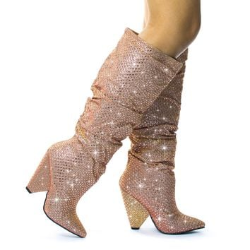 Immerse01Bamboo Retro Rhinestone Embellished Glitter Boots On Cone Tapered Heel