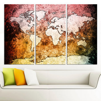 Large Canvas Wall Art Pink Orange and Black Backgrounded World Map 3 Piece Triptych Vintage Retro World Map Canvas
