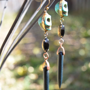 Turquoise Skull Totem Earrings