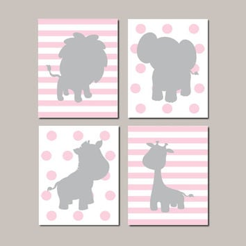 Jungle Nursery Art Safari Animals Baby Girl Pink Gray Nursery Decor Elephant Zebra Lion Giraffe Set of 4 Prints Or Canvas Nursery Pictures