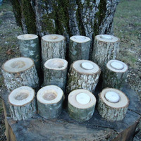 12 Rustic wood candle holders sticks for votive candles, weddings, cabins, decoration, decor, natural tree branch,