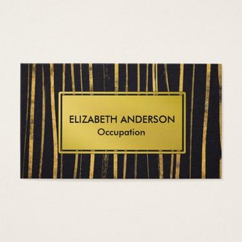 Contemporary Vertical Black and Gold Stripes Business Card