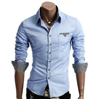 Doublju Mens Casual Patched Dress Shirts(DU063)