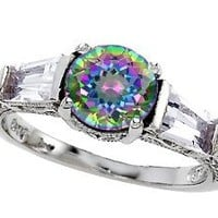 Star K Round 7mm Rainbow Mystic Topaz Engagement Ring