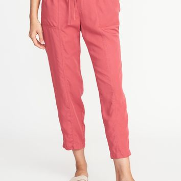Mid-Rise Tencel® Soft Utility Pants for Women | Old Navy