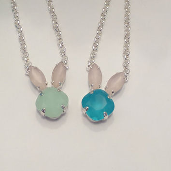 EASTER BUNNY PENDANT, swarovski, green, blue, choose color,easter gift, adult or child, frosted stones, cute, great gift, simple,dks