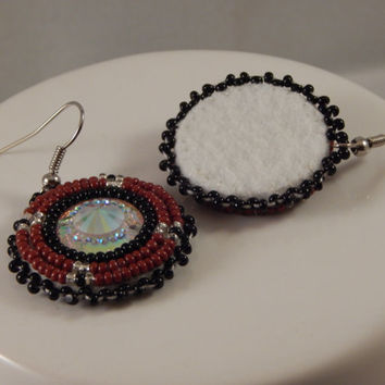 beaded pow wow regalia earrings - metis made native american beadwork - size 11 seed beads, jingle fancy dancer, ladies traditional